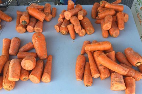 food bank - carrots at a marketplace