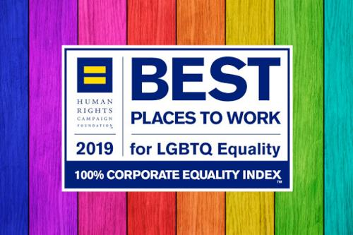 HRC Best Places to Work 2019 logo on rainbow background