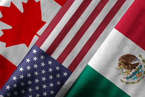 Flags of US, Canada and Mexico