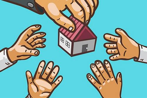 Illustration of real estate being distributed among hands
