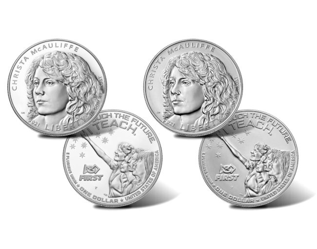 Christa McAuliffe silver dollar coins