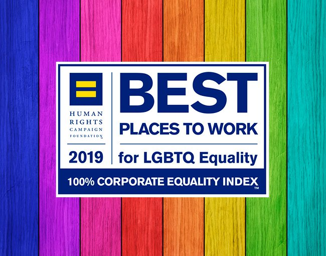 HRC Best Places to Work logo for 2019 on rainbow background