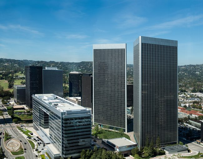 aerial image of our Century City offices by day