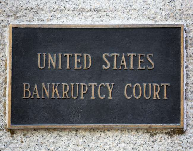 Photo of U.S. Bankruptcy Court plaque on a building