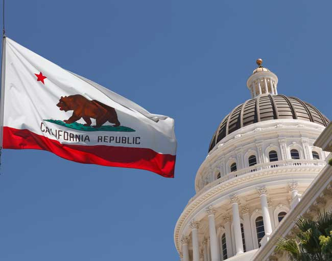 California state capital and state flag