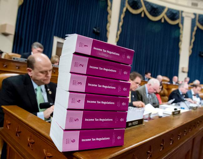stack of income tax regulations in Congress