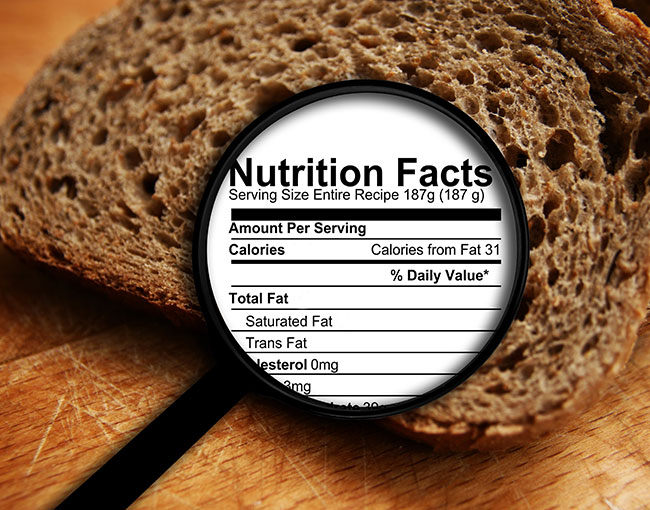bread with nutrition facts listed
