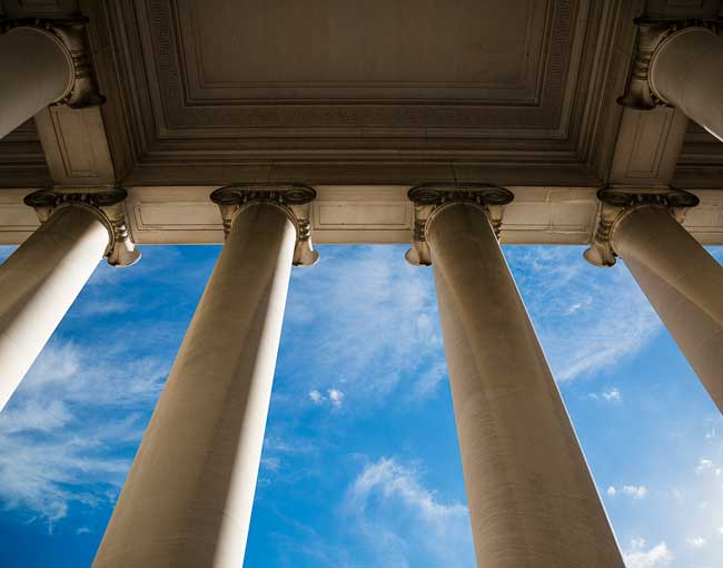 Marble columns outside a courthouse