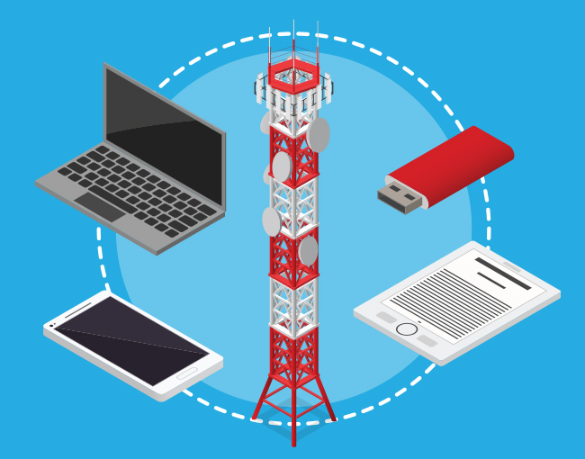 Illustration of a communications tower and various electronic devices