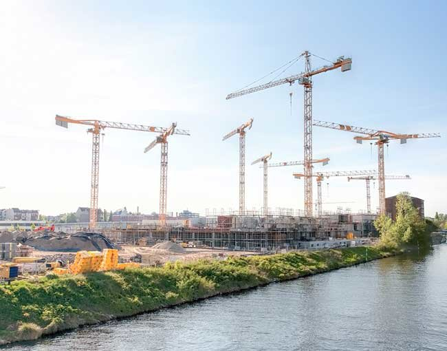 Large construction site next to river