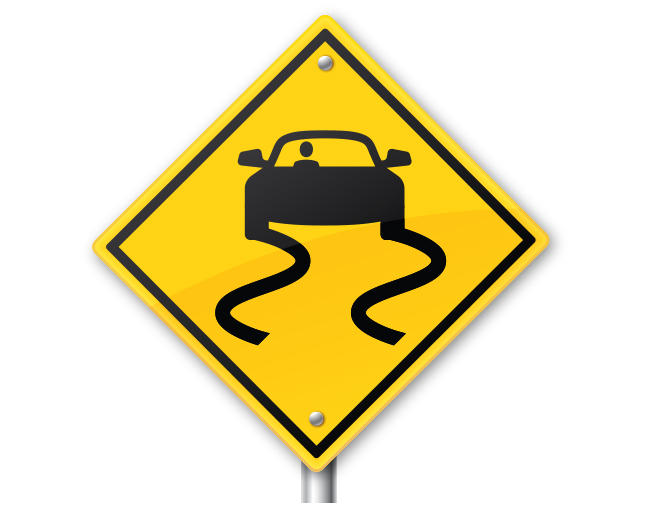 road sign of a car swerving