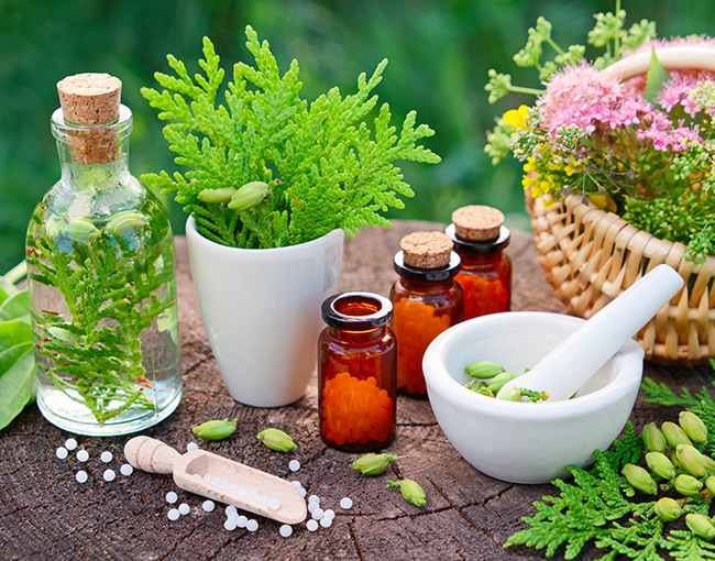 homeopathic bottles and plants