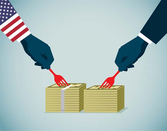 two arms carving up piles of money - one is Uncle Sam