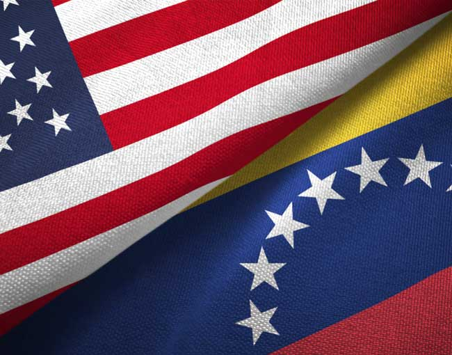 United States and Venezuela flags intertwined