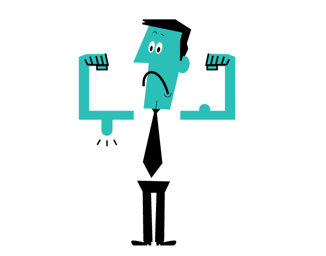 cartoon man with puny muscles